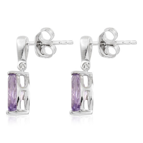 9K White Gold AA Rose De France Amethyst (Mrq), Diamond Earrings (with Push Back) 1.350 Ct.