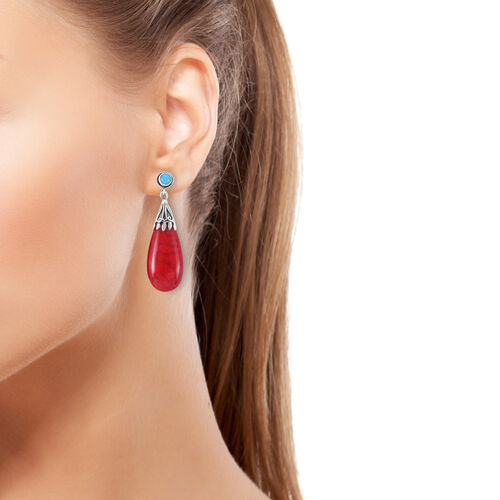 Royal Bali Collection Sponge Coral and Sleeping Beauty Turquoise Drop Earrings (with Push Back) in Sterling Silver 30.720 Ct.