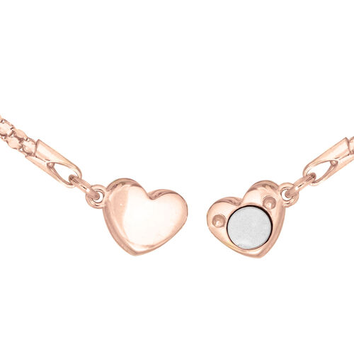 Rose Gold Overlay Sterling Silver Magnetic Heart Popcorn Necklace (Size 17)