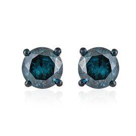 1 Carat Blue diamond Solitaire Stud Earrings in Sterling Silver SGL Certified I1-I2 GH