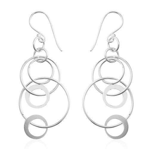 Designer Inspired- Rhodium Overlay Sterling Silver Circle Hook Earrings, Silver wt 3.00 Gms.
