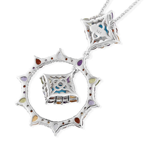 Arizona Sleeping Beauty Turquoise (Rnd), Sky Blue Topaz and Multi Gemstone Pendant with Chain in Platinum Overlay Sterling Silver 6.00 Ct, Silver wt 7.36 Gms.