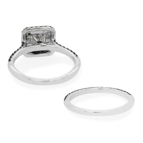 Set of 2 - 14K White Gold Independant Gem Lab USA Certified Blue Diamond and White Diamond (SI-I1/G-H) Ring 1.24 Ct.