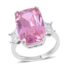 Simulated Kunzite (Cush 19x12 mm), Simulated Diamond Ring in Silver Plated