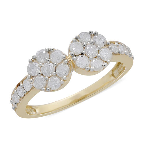9K Yellow Gold SGL Certified Diamond (Rnd) (I3 G-H) Twin Floral Ring 1.000 Ct.