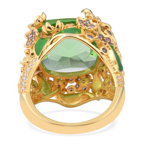 Designer Inspired- Simulated Peridot (Cus 16x16mm) and Simulated Amethyst and Simulated Diamond Enamelled Ring in Gold Plated