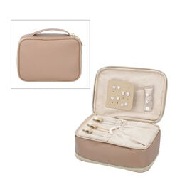 Portable Jewellery and Cosmetic Organiser with Zipper Closure (Size 24x17x9 Cm) - Taupe