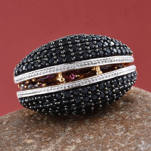 GP Rhodolite Garnet (Rnd), Boi Ploi Black Spinel and Kanchanaburi Blue Sapphire 2 Ring Set in 14K Gold Overlay Sterling Silver 7.500 Ct. Number of Gemstones 174, Silver wt 11.00 Gms.