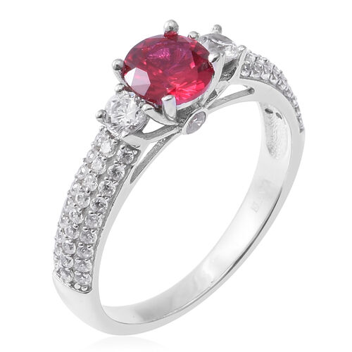 ELANZA  Simulated Ruby (Rnd), Simulated Diamond Ring in Rhodium Overlay Sterling Silver