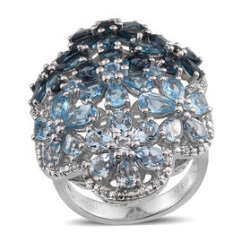 London Blue Topaz (Pear), Swiss Blue Topaz and Sky Blue Topaz Cluster Ring in Rhodium Overlay Sterling Silver 14.762 Ct.