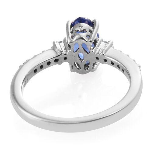 ILIANA 18K White Gold 1.61 Ct AAA Tanzanite Ring with Diamond SI G-H