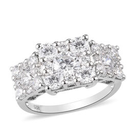 J Francis Platinum Overlay Sterling Silver Cluster Ring Made with SWAROVSKI ZIRCONIA 4.24 Ct.