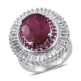 11.25 Ct African and Burmese Ruby with White Topaz Halo Ring in Sterling Silver 6.20 Grams