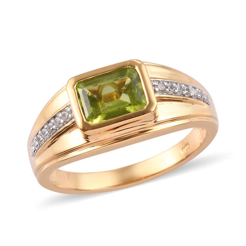 AA Hebei Peridot and Zircon Solitaire Ring in Gold Plated Sterling Silver