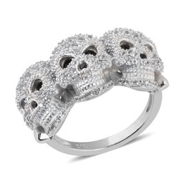 2.18 Ct Boi Ploi Black Spinel and Zircon Skull Cluster Ring in Rhodium Plated Silver 6.55 Grams