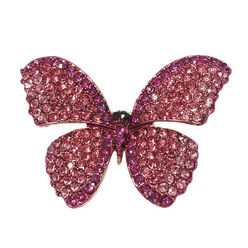 Designer Inspired- Multi Color Crystal (Rnd) Butterfly Brooch in Gold Plated