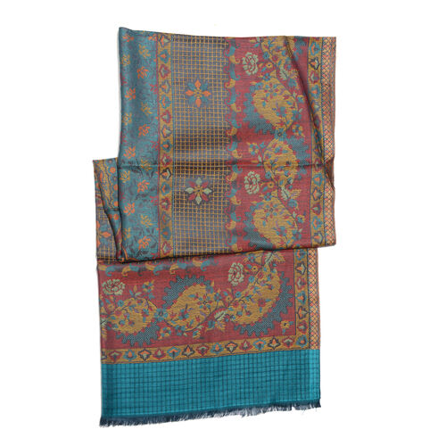 Multi Colour Floral and Leaves Pattern Jacquard Scarf with Tassels (Size 190X70 Cm)