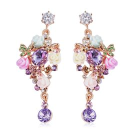 Jardin Inspired-Simulated Amethyst and Multicolour Austrian Crystal Butterfly  Earrings (with Push B