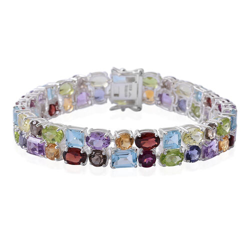 Sky Blue Topaz (Oct), Swiss Blue Topaz, Brazilian Amethyst and Multi Gemstone Bracelet (Size 7.25) i