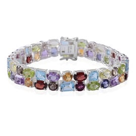 Sky Blue Topaz (Oct), Swiss Blue Topaz, Brazilian Amethyst and Multi Gemstone Bracelet (Size 8) in Rhodium Plated Sterling Silver 34.500 Ct. Silver wt 17.20 Gms.