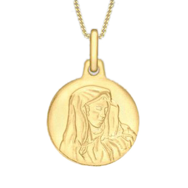 9K Yellow Gold Holy Mary Medal Pendant, Gold wt 1.51 Gms
