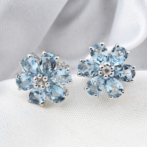 9K White Gold AA Santa Maria Aquamarine (Pear), Natural Cambodian Zircon Flower Stud Earrings (with Push Back) 1.500 Ct.