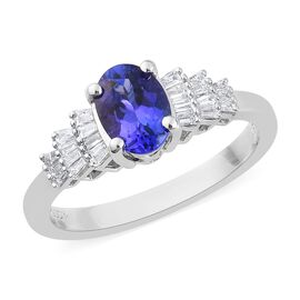 RHAPSODY 950 Platinum AAAA Tanzanite (Ovl) and Diamond (VS/E-F) Ring 1.00 Ct, Platinum wt. 4.60 Gms