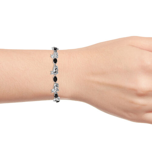 Boi Ploi Black Spinel (Ovl 2.75 Ct) Bolo Bracelet (Size 6.5 - 9.5 Adjustable) in Silver Plated 2.750 Ct.