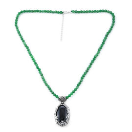 Royal Bali 48.06 Ct Boi Ploi Black Spinel and Green Jade Beaded Necklace in Sterling Silver 8.32 Gms