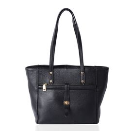 100% Genuine Leather Black Colour  Large Tote Bag with External Zipper Pockets (Size 37x27x24x13.5 Cm)