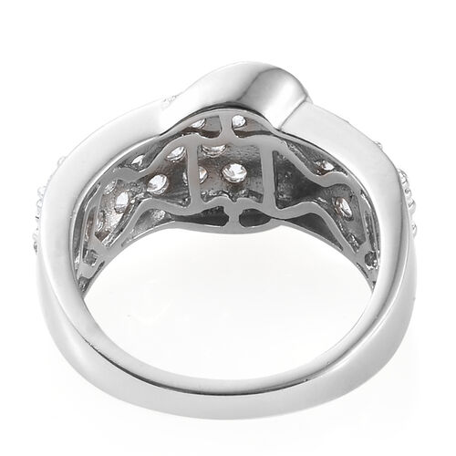 AAA Simulated Diamond (Rnd) Buckle Ring in Platinum Plated.