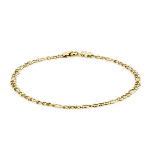 9K Yellow Gold Hollow Figaro Anklet (Size 10) with Spring Ring Clasp