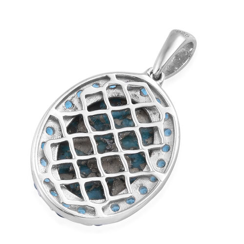 TJC Launch- Persian Turquoise (Ovl 16x12 mm), Neon Apatite Pendant in Platinum Overlay Sterling Silver 10.500 Ct.