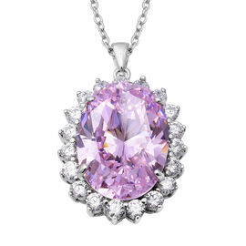 One Time Close Out Deal- Swiss Star Simulated Pink Diamond (Ovl 28x20mm), Pendant with Chain (Size 3
