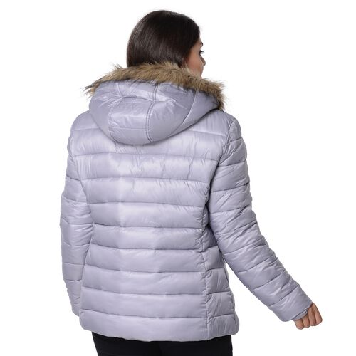 Women Puffer Jacket with Faux Fur Trim Hood and Two Pockets (Size XXL) - Silver Grey