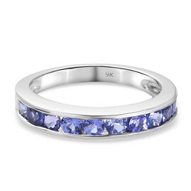 9K White Gold  Tanzanite Ring in Rhodium Overlay 0.66 ct,  Gold Wt. 1.8 Gms  0.660  Ct.