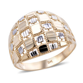 Royal Bali Collection- 9K Yellow and White Gold Ring, Gold wt 2.30 Gms