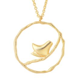 Isabella Liu Butterfly Reborn Circle Pendant with Chain in Gold Plated Silver 30 Inch
