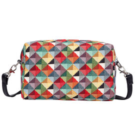 SIGNARE-Tapestry Collection - Multi Coloured Triangle Shoulder Hip Bag (20x12x9.5cm)