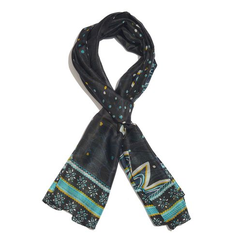 100% Mulberry Silk Black, Blue and Multi Colour Handscreen Floral and Hearts Printed Scarf (Size 180X50 Cm)