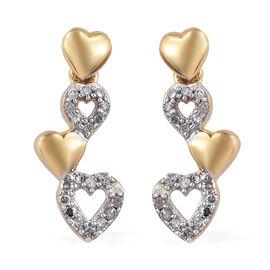GP Diamond (Rnd), Kanchanaburi Blue Sapphire Heart Earrings (with Push Back) in 14K Gold Overlay Ste