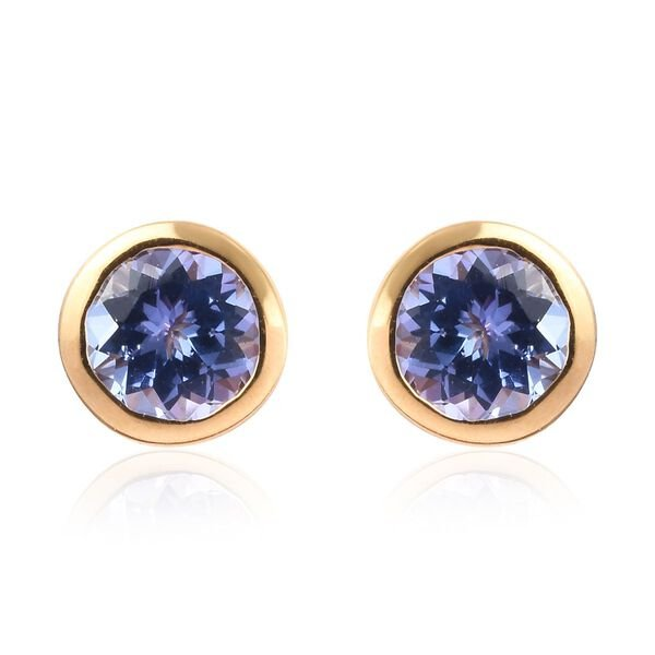 0.88 Ct AA Tanzanite Stud Solitaire Earrings in Yellow Gold Plated Sterling Silver