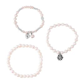 Set of 3 - Freshwater White Pearl Stretchable Bead Bracelet with Charm (Size 7)