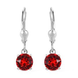 J Francis - Crystal from Swarovski Light Siam Crystal (Rnd) Lever Back Earrings in Platinum Overlay