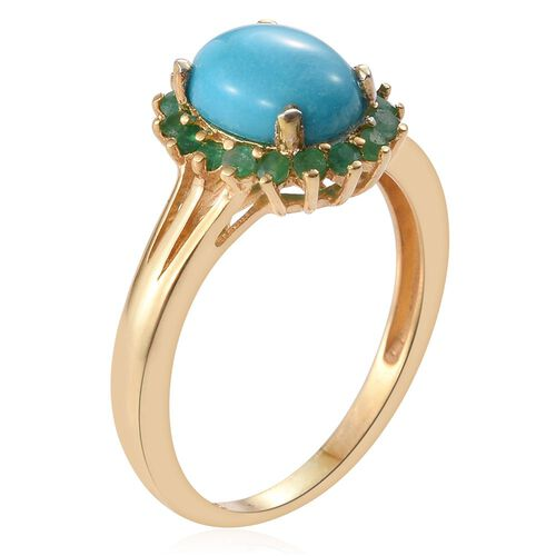 Arizona Sleeping Beauty Turquoise (Ovl 1.45 Ct), Kagem Zambian Emerald Ring in 14K Gold Overlay Sterling Silver 1.750 Ct.