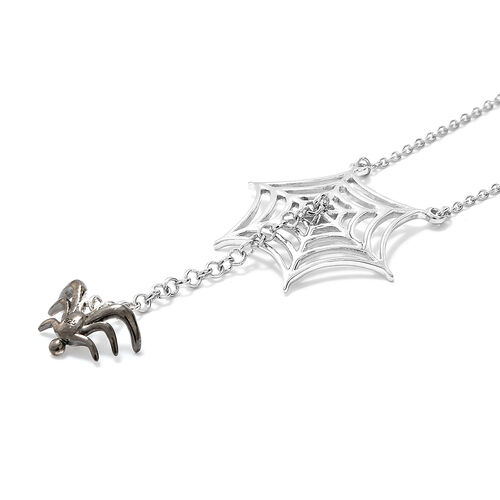 Platinum Overlay and Black Plating Sterling Silver Spider Necklace With Chain (Size 18 and 2 inch Extender)