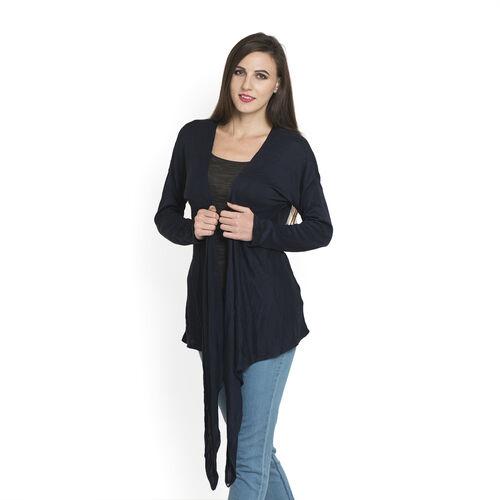 Navy Blue Colour Long Neck Pattern Cardigan (Medium / Large)