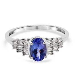 9K White Gold AA Tanzanite and Natural Diamond Ring 1.02 Ct.