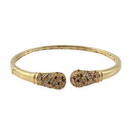 4 Carat Rainbow Sapphire Cuff Bangle in Gold Plated Silver 16.6 Grams 7.5 Inch
