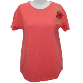 SUGARCRISP 100% Cotton Short Sleeved TShirt with Flower Detail - Hot Coral